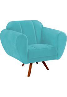 Poltrona Decorativa Melissa Suede Azul Tiffany Com Base Giratória Madeira - D'Rossi