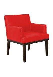 Poltrona Decorativa Vitória Sala E Recepção Corino Vermelho - Ds Móveis