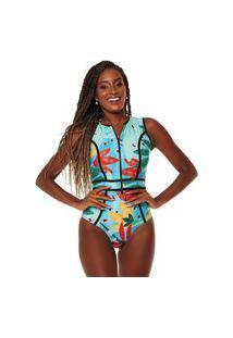Maiô Kalini Beachwear Manga Curta Stylish Aruba