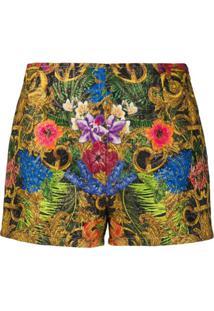 Versace Jeans Couture Short Com Estampa Barroca - Dourado