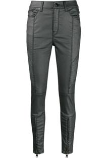 Karl Lagerfeld Calça Jeans Encerada - Cinza