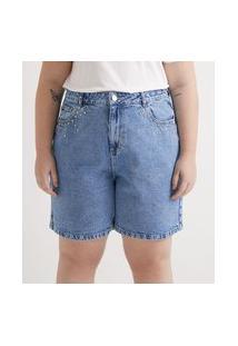Bermuda Jeans Com Aplicações Nos Bolsos Frontais Curve & Plus Size