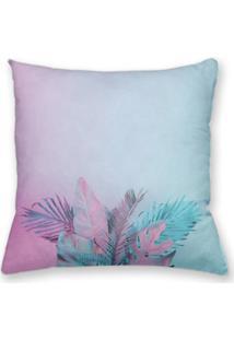 Capa De Almofada Decorativa Own Folhas Rosa E Azul 45X45 - Somente Capa