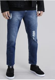 Calça Jeans Masculina Tapered Eco Recycle Destroyed Azul Escuro