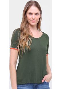 Blusa Cantão Gola V Punho Cor Feminina - Feminino-Verde Escuro