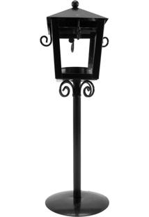 Luminária Porta Velas Decorativa Preta Kasa Ideia