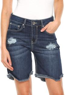 Bermuda Jeans Sommer Reta Destroyed Azul