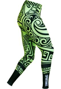 Calça De Compressão Spartanus Fightwear Tribal Verde