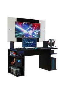 Mesa Gamer Madesa 9409 E Painel Para Tv Até 58 Polegadas Preto/Branco Preto