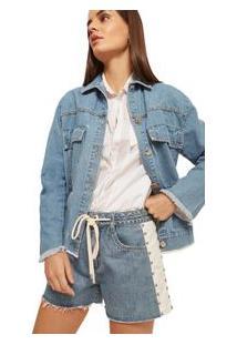 Jaqueta Morena Rosa Classica Bordado Industrial Jeans