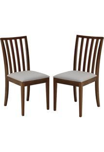 Cadeira Calisto (Kit C/ 2 Peças) Ref 2219 - Castanho Claro Tec Bege Claro