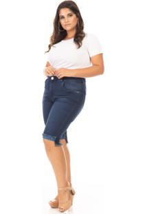 Bermuda Feminina Jeans Barra Desfiada Plus Size - Azul - Feminino - Dafiti