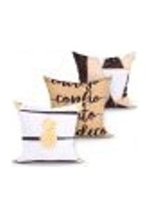 Capa Almofada Para Sala Estampada Decorativa Kit Com 3 Unidades 45Cm X 45Cm Com Zíper