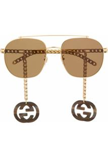 Gucci Eyewear Óculos De Sol Aviador Com Detalhe De Pingente - Dourado