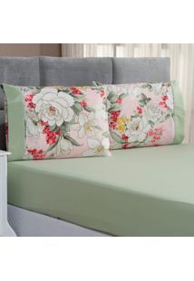 Jogo De Cama Forest Floral Verde/Ros㪠Solteiro Micropercal 200 Fios 02 Peã§As - Verde - Dafiti