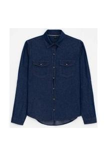 Camisa Jeans Manga Longa Lisa Com Botões De Pressão E Bolsos | Marfinno | Azul | P
