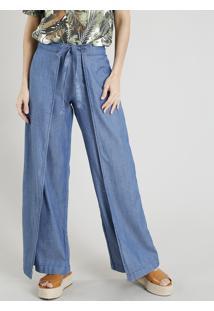 Calça Jeans Pantalona Feminina Com Sobreposição E Amarração Azul Médio
