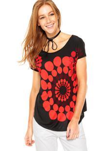 Camiseta Desigual Geométrica Preta/Vermelha