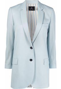 Ps Paul Smith Blazer Longo Com Abotoamento Simples - Azul
