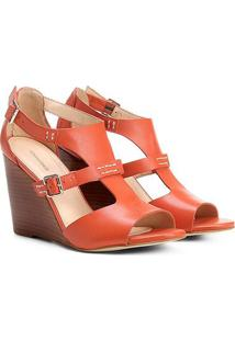 Sandália Anabela Couro Shoestock Fachete Feminina