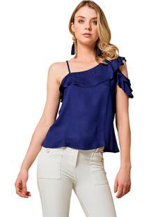 Blusa Mx Fashion Com Babados Kaire Azul Marinho