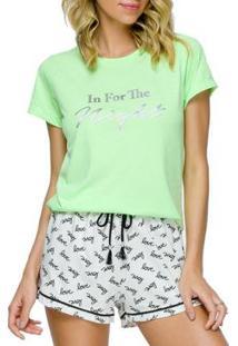 Pijama Feminino Cor Com Amor - Feminino-Verde