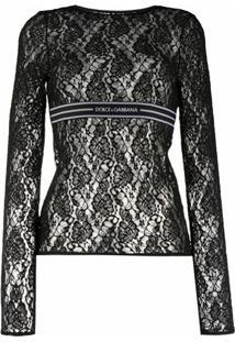 Dolce & Gabbana Blusa De Renda Com Mangas Longas - Preto