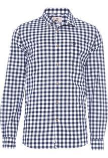 Camisa Masculina Washed Poplin - Azul