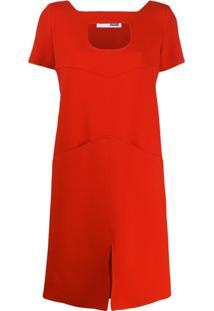 Courrèges Vestido Reto Com Recortes Vazados - Vermelho