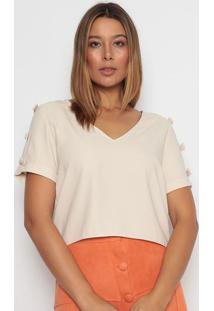 Blusa Com Laã§Os - Bege Claro - Aboutabout