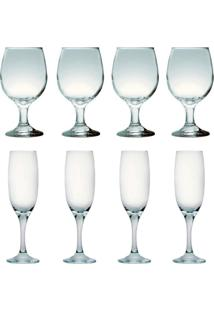 Kit 4 Taças Para Vinho Tinto 245 Ml E 4 Taças Champanhe 190Ml Sture Móveis - Kanui
