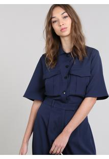 Camisa Cropped Feminina Mindset Com Bolsos Manga Curta Azul Marinho