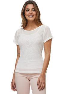 Camisa Zaiko Com Brilho Feminino Manga Curta - Feminino-Branco