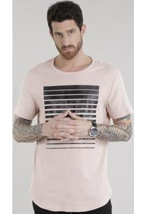 Camiseta Longa Em Jacquard Rosê