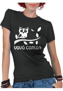 Camiseta Criativa Urbana Frases Vovó Coruja Preto