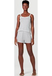 Pijama Feminino De Alcinha Em Renda Com Estampa
