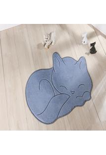 Tapete Formato Feltro Antiderrapante Gato Soneca Cinza - Multicolorido - Dafiti