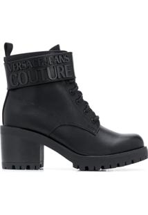 Versace Jeans Couture Ankle Boot Com Solado Chunky - Preto