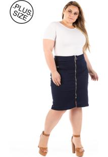 Saia Jeans Plus Size - Confidencial Extra Midi Com Zíper Frontal Plus Size - Tricae