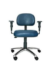 Cadeira Secretária Bits. Couro Ecológico. Braços Ajustáveis. Base Alumínio. Ajuste De Altura Do Assento E Encosto. Rodízios. Prolabore Produtos Ergonômicos