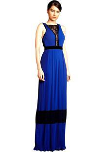 Vestido Izad Izadora Lima Brand Longo Em Musseline Micro Plissada Azul Marinho - Tricae