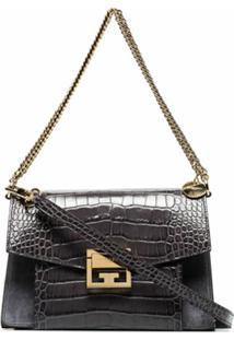Givenchy Bolsa Tiracolo Gv3 Com Efeito Crocodilo - Cinza