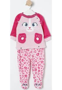 Pijama Plush Oncinha- Rosa Claro & Pink- Puketpuket
