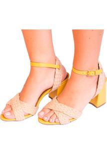 Sandália Amarela Com Corda Natural Salto Flare Amarelo