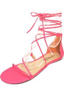 Rasteira Minimal Sapatilhas No Saquinho Amarração Pink