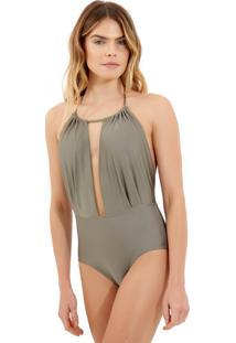 Body Rosa Chá Hamptons Beachwear Cinza Feminino (Cinza, G)