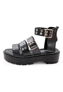 Sandália Feminina Its Shoes Jade Preta Com Ilhós