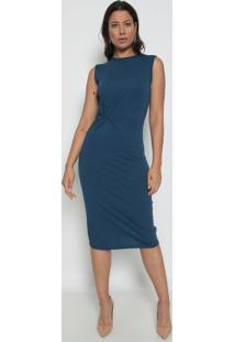 Vestido Mídi Com Torção - Azul Marinho - Dedikadedika