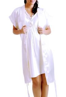 Jogo Camisola A Gestante Cetim Liso Branco