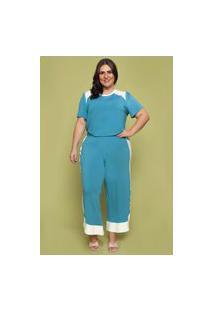 Calça Pantacourt Almaria Plus Size Garage Bicolor Azul